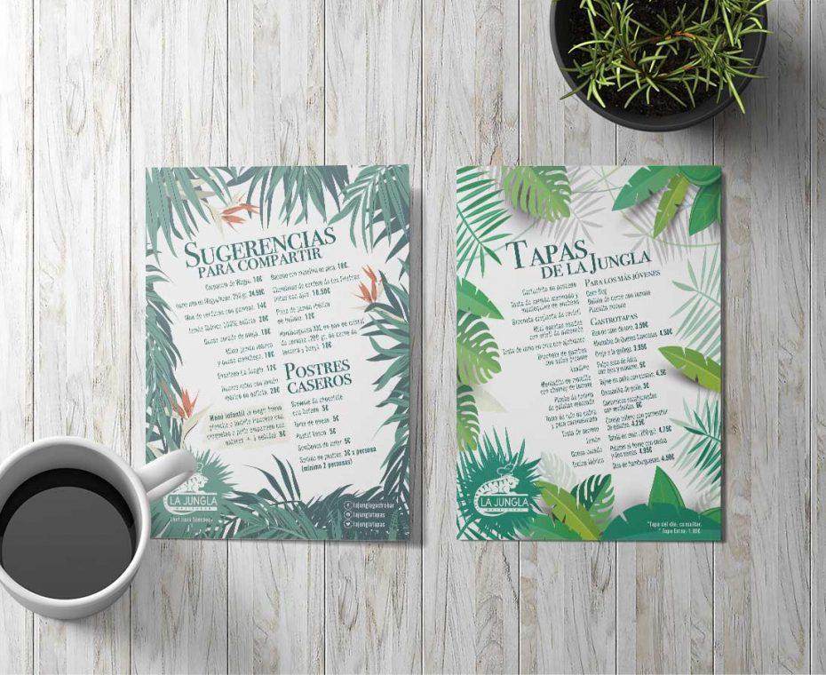 Diseño gráfico para carta menú La Jungla Gastrobar