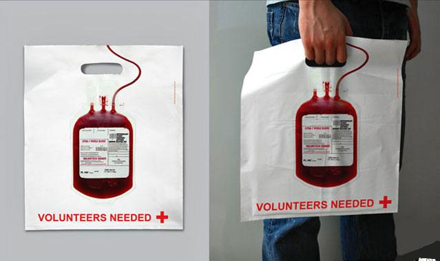Bolsa promocional para la búsqueda de voluntarios para donar sangre
