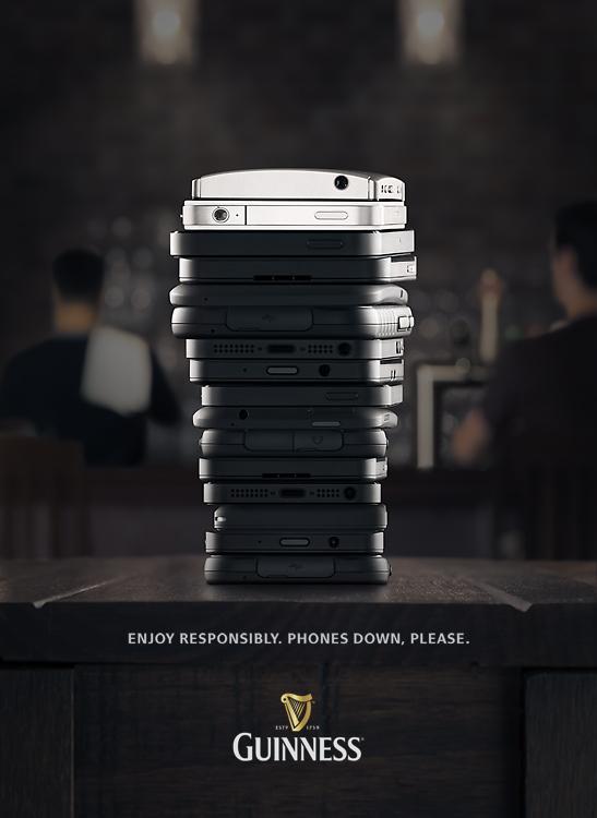Ad inteligente para Guinness. Teléfonos abajo, tómese su tiempo. Gris Toronto