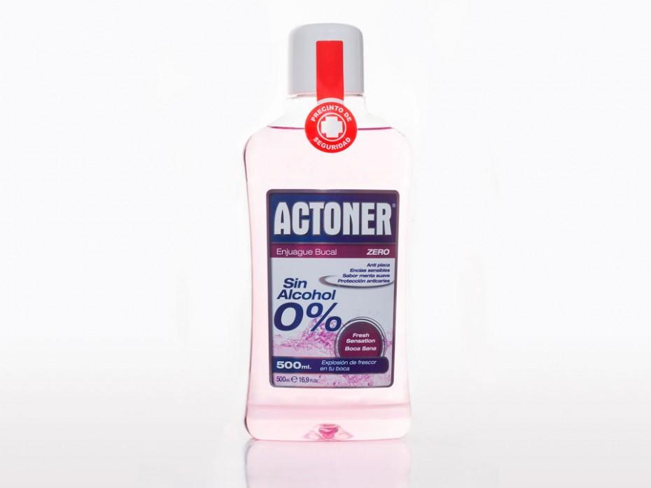 Diseño de etiquetas para packaging de colutorio Actoner Sin Alcohol