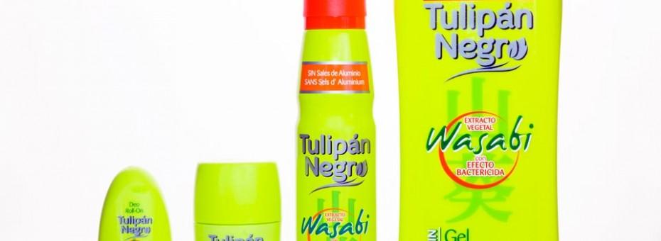Diseño y adaptación de línea Tulipán Negro Wasabi para envases de gel, spray, roll-on y deo stick